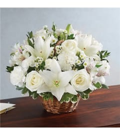 Floral All White Basket