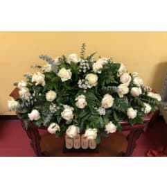 Perfect in White Casket Spray