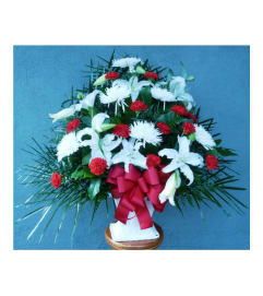 FLOOR BASKET- MUMS, LILIES, AND CARNATIONS