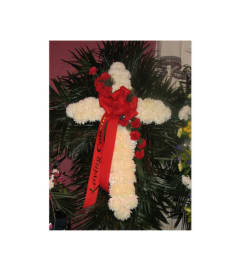 WHITE MUM CROSS WITH RED CARNATION BREAK