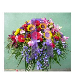 CASKET SPRAY- PINK, RED, YELLOW, AND PURPLE