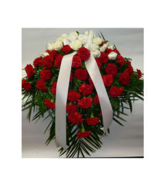 CASKET SPRAY- RED CARNATIONS & WHITE ROSES