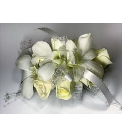 Sparkly White Wrist Corsage  *PLEASE CALL TO ORDER*