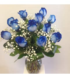 Blue Roses with baby's breath