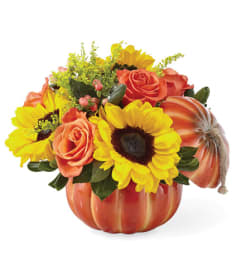 Fall Bountiful Ceramic Pumpkin