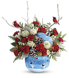 Cardinals in the Snow Holiday Arrangement