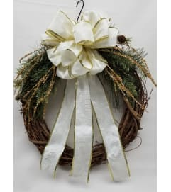White & Gold Wreath SILK