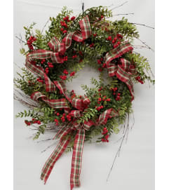 Berries & Ribbon Wreath SILK