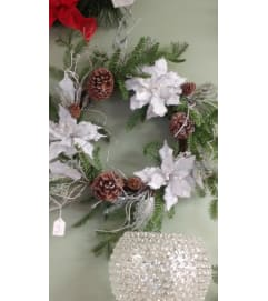 Artificial Poinsettia Wreath