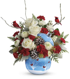 Cardinals In The Snow Ornament Bouquet