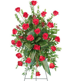 Crimson Departure Red Roses Standing Spray