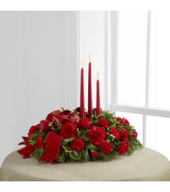 Seasons Greetings Centerpiece w/Candles