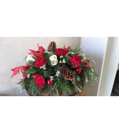 Red and White Holiday Centerpiece