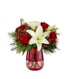 Red Christmas Vase