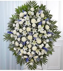 Blue & White Sympathy Standing Spray XL