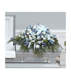 CTT53-11 Shades of blue delphinium, carnations and iris accented