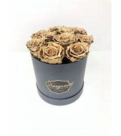 Gold Forever Roses in Black Box