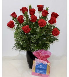 Dozen Red Roses & Chocolates