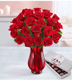 Two Dozen Red Roses With Chocolate Arranged