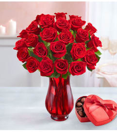 2 Dozen Red Roses + Box Of Chocolates Bundle