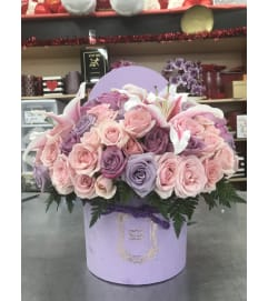 Cupid's Lavender Love Box Bouquet