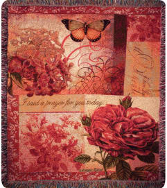 Tapestry Throw - Spring Blooms w/Verse