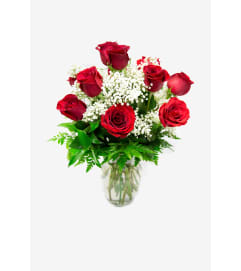Short-Stemmed Red Roses In Vase