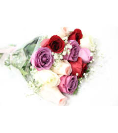 Mixed-Colour Roses Wrapped