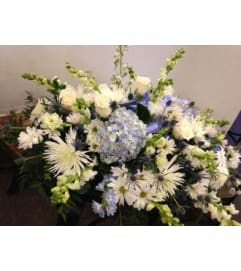 Blue and White Half Casket Spray