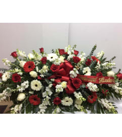 Red and White Sympathy Casket Spray