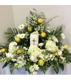 Yellow and White Urn Tribute Piece