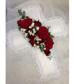 "12"" Satin Cross Pillow"