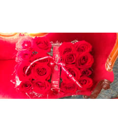 Red Roses in box with Perfume