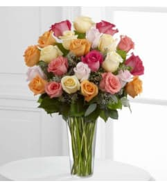 Dozen Assorted Colored Roses Vased