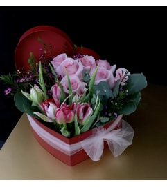 ROSE AND TULIP HEART BOX