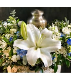 White and Blue Sympathy Urn Wreath