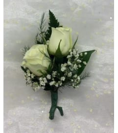 Bout 2 - White spray roses with babies breath (pick up only)