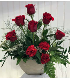 Red Rose and Red Carnation Arrangement