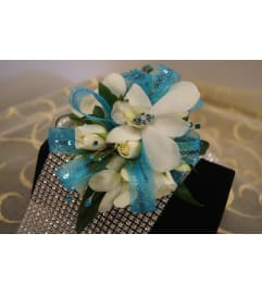 Wristlet 4 - White orchids, white spray roses (pick up only)