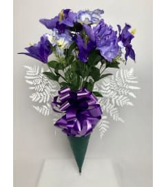 Silk Bouquet for Grave (Purple)