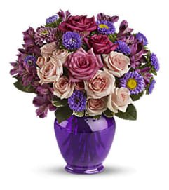 The Purple Medley Bouquet with Roses