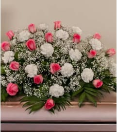 Casket Spray-Pink Roses and White Carnations
