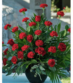 Red Rose & Red Carnation-Large Traditonal Arrangement