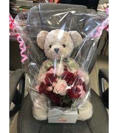 Teddy Bear and Flower Bouquet