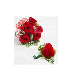 Wedding Red Rose Corsage & Boutonniere
