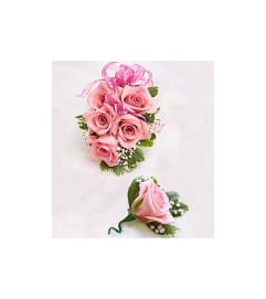 Prom Pink Rose Corsage & Boutonniere