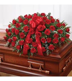 Sympathy Red Roses Half Casket Cover
