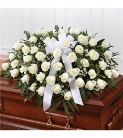 Sympathy White Roses Half Casket Cover