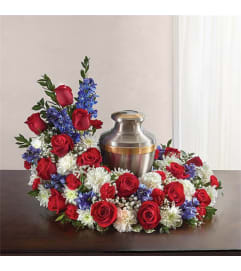 Sympathy Cremation/Memorial Wreath White, Red & Blue