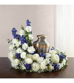 Sympathy Cremation/Memorial Wreath Blue &  White